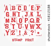 vector stamp font with grunge... | Shutterstock .eps vector #418115188