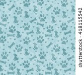 teal dog paw prints  puppy ... | Shutterstock . vector #418115542