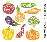 names of fruits in fruit shaped ... | Shutterstock .eps vector #418118695