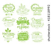 organic food calligraphic label ... | Shutterstock .eps vector #418118992