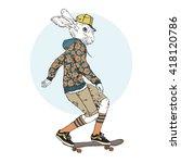 bunny boy riding on a... | Shutterstock .eps vector #418120786