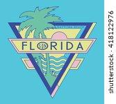 vintage florida surf typography ... | Shutterstock .eps vector #418122976