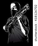 gang member with gun   Shutterstock .eps vector #418126702