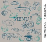 vector hand drawn seafood... | Shutterstock .eps vector #418132666