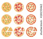 set of flat pizza icons... | Shutterstock .eps vector #418153462