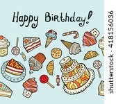 happy birthday card with sweets ... | Shutterstock .eps vector #418156036