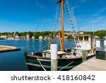 fishing boat at mystic seaport  ...   Shutterstock . vector #418160842