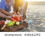 group of friends holding drinks ... | Shutterstock . vector #418161292