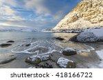 rorvik beach near henningsvaer... | Shutterstock . vector #418166722