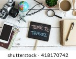 outfit of traveler on white... | Shutterstock . vector #418170742