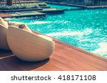 relaxing rattan chairs with... | Shutterstock . vector #418171108