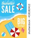 a summer beach banners with sun ... | Shutterstock .eps vector #418182412