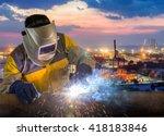 welder working a welding metal... | Shutterstock . vector #418183846