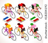 Racing Cyclists Riding Bicycle...