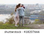happy young family on a... | Shutterstock . vector #418207666