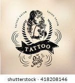 tattoo girl old school studio... | Shutterstock .eps vector #418208146