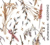 Watercolor Ornamental Dry Gras...