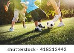little boy playing soccer with... | Shutterstock . vector #418212442