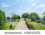 outdoor garden on rooftop  soft ... | Shutterstock . vector #418215232