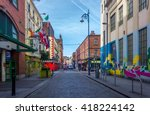 colorful streets of dublin... | Shutterstock . vector #418224142