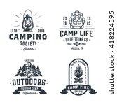 set of retro camping outdoor... | Shutterstock .eps vector #418224595
