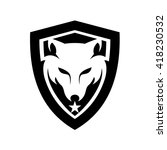 wolf head and shield logo | Shutterstock .eps vector #418230532