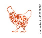 chicken meat part cuts diagram... | Shutterstock .eps vector #418250605