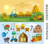 farm in village banner farm... | Shutterstock .eps vector #418259548