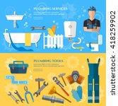 plumbing repair service banner... | Shutterstock .eps vector #418259902