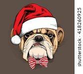 bulldog portrait in a santas... | Shutterstock .eps vector #418260925