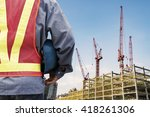 construction worker checking... | Shutterstock . vector #418261306