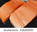 Raw Salmon Fillets On Dark...