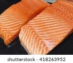 Raw Salmon Fillets On Dark...