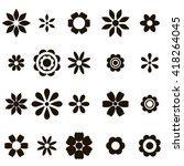 set of black flat flower icons. ... | Shutterstock . vector #418264045
