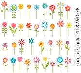 set of colorful flowers. raster ... | Shutterstock . vector #418264078