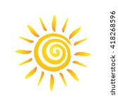 hand drawn spiral shinny sun.... | Shutterstock .eps vector #418268596