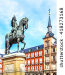 plaza mayor with statue of king ... | Shutterstock . vector #418273168