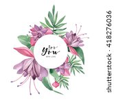 watercolor greeting card.... | Shutterstock . vector #418276036