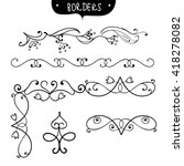 hand drawn lines borders set.... | Shutterstock .eps vector #418278082