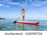 a beautiful woman practicing... | Shutterstock . vector #418290736