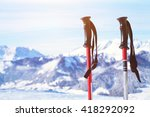 skiing in alps  close up of two ... | Shutterstock . vector #418292092