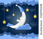 moon and stars in the clouds. | Shutterstock .eps vector #418293238