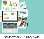 analytic graph in device with... | Shutterstock .eps vector #418297636