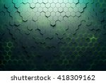 Green Hexagon Pattern. 3d...