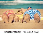 happy family having fun on the... | Shutterstock . vector #418315762