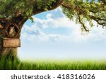 Background With A Tree And An...