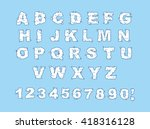 cloud font. abc of white clouds ... | Shutterstock . vector #418316128