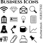 business icon set. 16 icons... | Shutterstock .eps vector #418317532