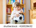 little blond preschool kid boy... | Shutterstock . vector #418328632