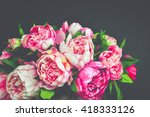 bouquet peony flowers. colorful ... | Shutterstock . vector #418333126